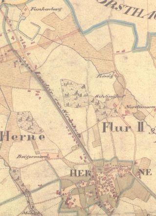 Ausschnitt aus der Gemeindekarte von Herne von 1824